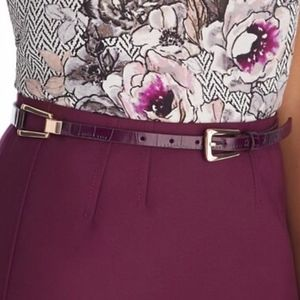 WHBM SKINNY BURGUNDY CROCODILE EMBOSSED BELT NWT